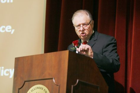 NIU President John J. Peters delivers his annual State of the University Address Thursday afternoon in the Altgeld auditorium.