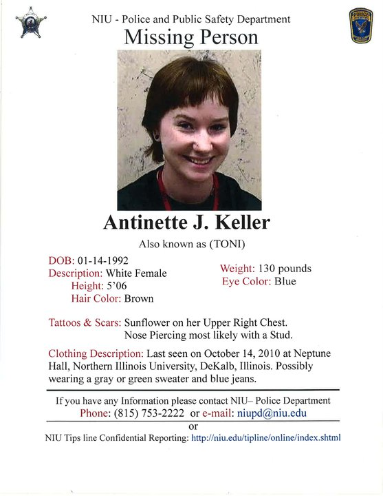 Displayed is the NIU Police and Public Safety Department official flyer regarding missing NIU student Antinette Keller.