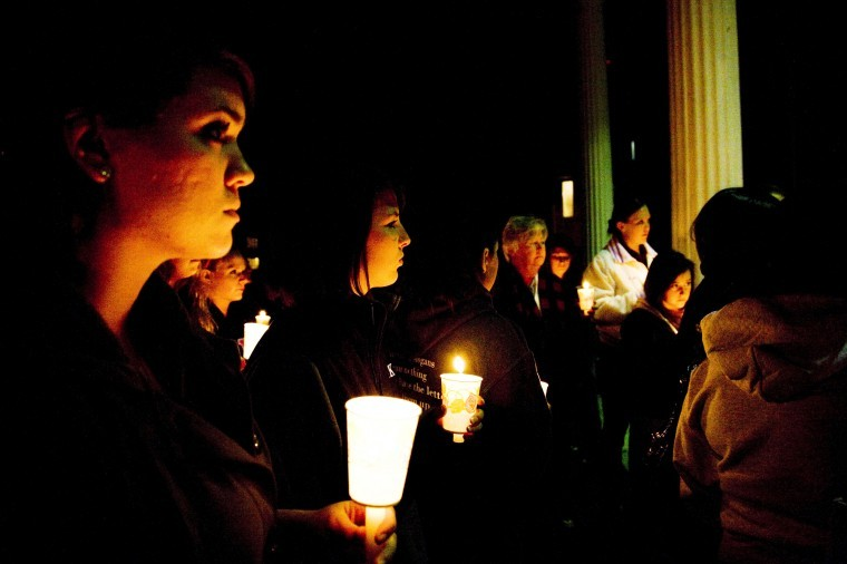A candlelight vigil held for Andrea Will on Tuesday night at the Sigma Kappa's Delta Zeta chapter at NIU.  Led by Chapter President Angela Sheppard.