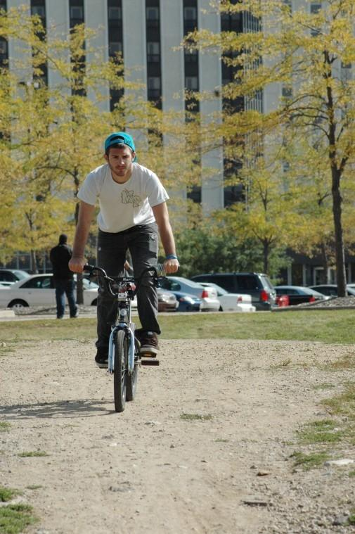 Mike Morocco, senior time arts major, takes the eco park bike path as a shortcut back to his apartment Tuesday afternoon.