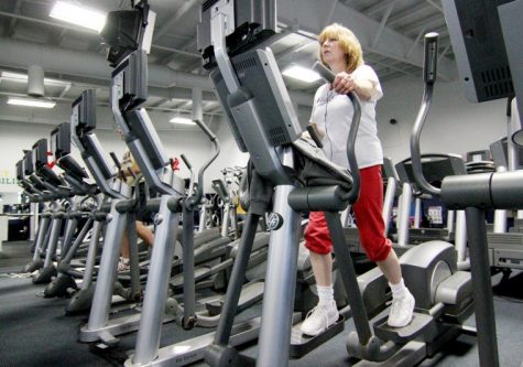 Wanda Wynes, Northern Illinois University Foundation Assistant Controller, works her cardiovascular system on a stair stepper at the YMCA, 2500 Bethany Road in Sycamore, Monday night.