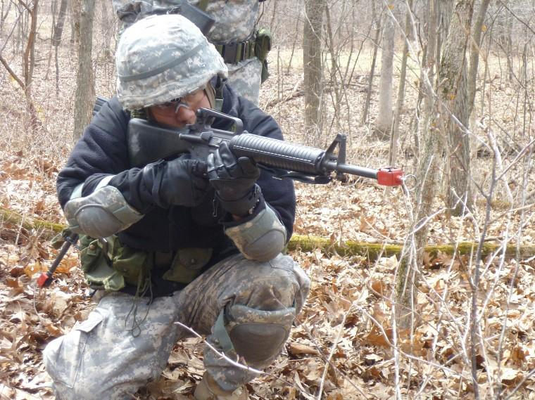 An ROTC member rehearses for a mission in Marseilles in March. The mission was just part of the spring field training exercises for the NIU ROTC.