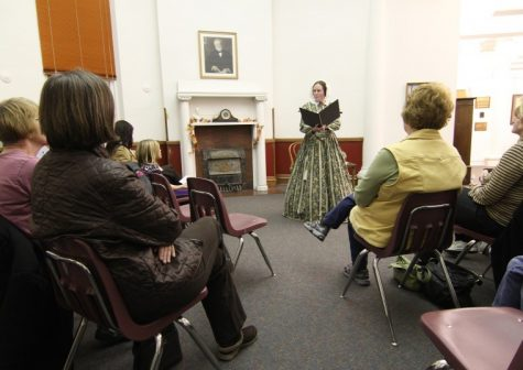 Laura F. Keyes portrays Mary Todd Lincoln telling stories of her life in Historic Carnegie Rotunda in the Sycamore Public Library Monday evening.