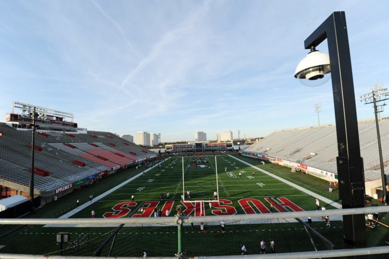 Two high-definition robotic cameras have been installed at Huskie Stadium to eliminate the use of aerial lifts and platforms when filming football practices.