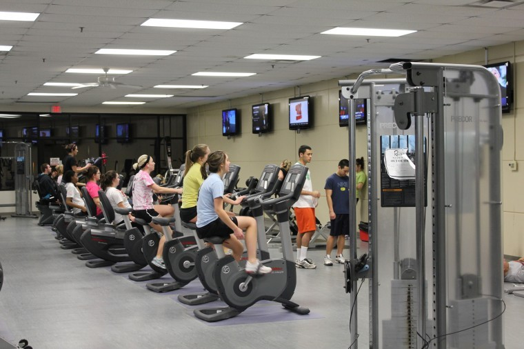 Students exercise at the Rec center Wednesday night.