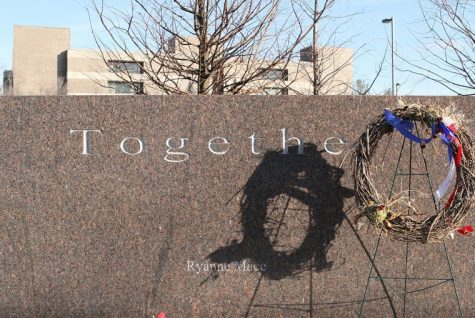 A wreath rests next to the Feb. 14 Memorial Sunday afternoon. The presentation of the Memorial Wreaths will take place at 3 p.m. Tuesday outside Cole Hall.