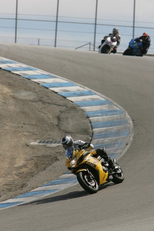 NIU Moto President Adam Bennett races his bike around a track. NIU Moto is a group open to all types of riders.