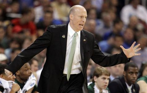Ohio head coach John Groce directs his team during the first half of an NCAA tournament Midwest Regional college basketball game against North Carolina, Friday, March 23, 2012, in St. Louis. (AP Photo/Jeff Roberson)