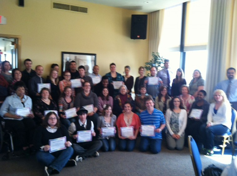 Recipients of the LGBT Resource Center Ally Awards in the Sky Room of the Holmes Student Center Wednesday afternoon.