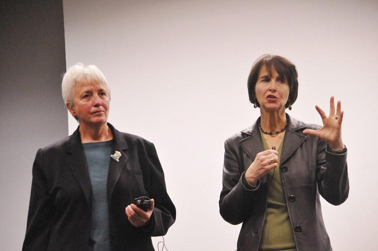 Dr. Laura Vasquez (right), professor of communications, and Diane Nilan, (left) founder and president of Hear Us Inc, answer questions in Wirtz Hall on Saturday night after the showing of their documentary on the edge. The film focused on eight women from all over the country and their struggle with homelessness.