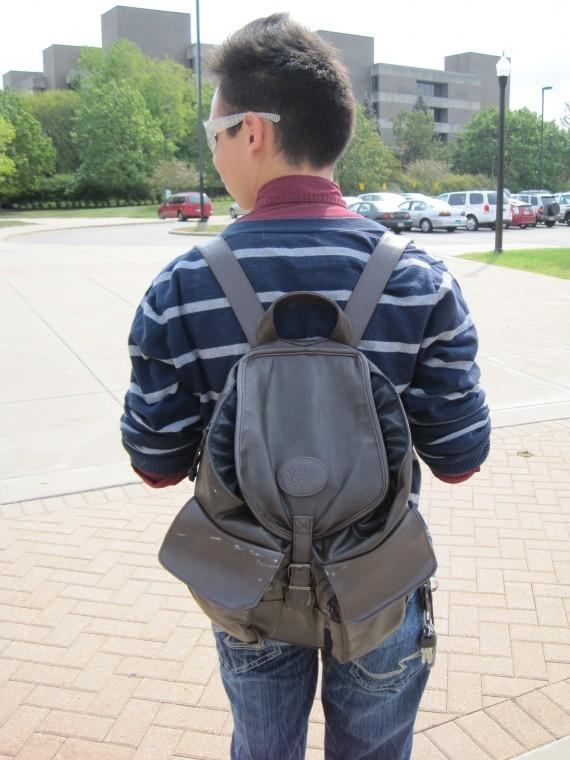 Jose Ochoa,junior theater technology design major, found this unique leather backpack at Goodwill. Thrifting can help you find clothes and accessories other students most likely don't have.