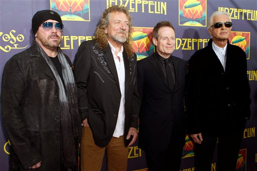 Musicians Jason Bonham, Robert Plant, Jimmy Page and John Paul Jones attend the