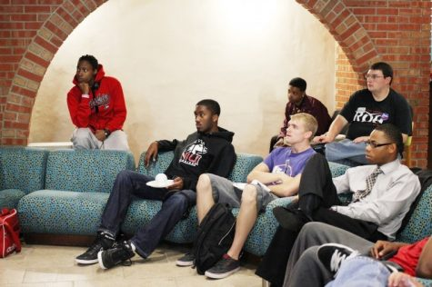 (Students names from left to right on couch): Junior communications major Jordan Reed; Andy Vikre, junior political science major; and Delonte LeFlore, senior organizational and computer communications major, watch the first presidential debate from the New Orleans Room of Stevenson C Tower Wednesday night. The debate was between presidential candidate Mitt Romney and President Barack Obama.
