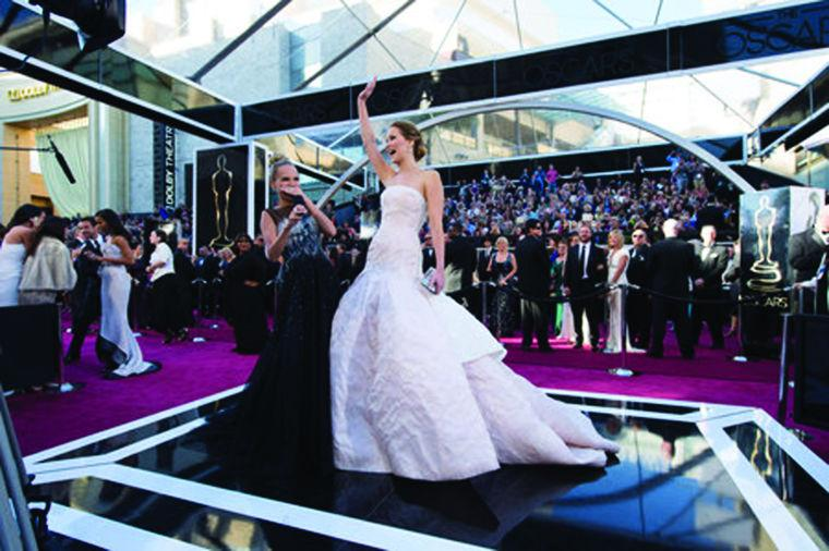 Jennifer+Lawrence+%28R%29%2C+Oscar%C2%AE-nominee+for+Actress+in+a+Leading+Role%2C+interviews+with+Kristin+Chenoweth+%28L%29+upon+her+arrival+for+The+Oscars%C2%AE+at+the+Dolby%C2%AE+Theatre+in+Hollywood%2C+CA+February+24%2C+2013.%0A