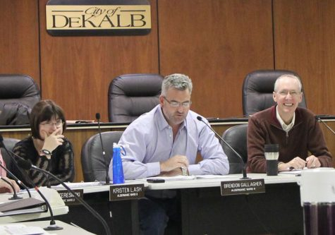 Alderman Brendon Gallagher discusses the housing development study presented by the NIU Center for Governmental Studies at Tuesday night's special city council meeting.