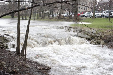 The usual trickle of water outflowing from the East Lagoon into the Kishwaukee River was turned into a violent rapid during Wednesday's sever thunderstorm.