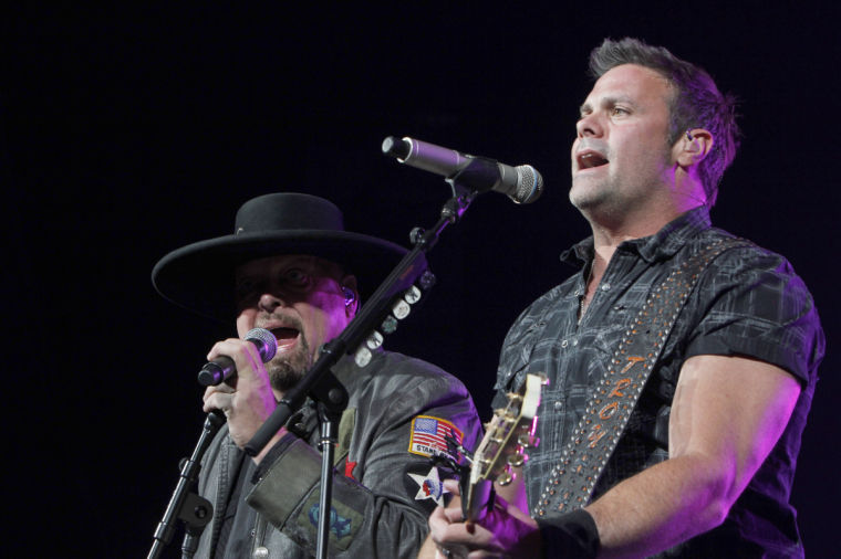 Eddie Montgomery (left) and Troy Gentry (right) perform Sunday night at the Convocation Center.