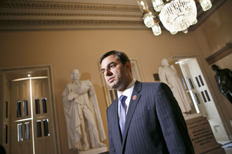 Rep. Justin Amash, R-Mich., comments about the vote on the defense spending bill and his failed amendment that would have cut funding to the National Security Agency's program that collects the phone records of U.S. citizens and residents, at the Capitol, July 24, 2013. The Amash Amendment narrowly lost, 217-205. The White House and congressional backers of the NSA's electronic surveillance program lobbied against ending the massive collection of phone records from millions of Americans saying it would put the nation at risk from another terrorist attack.