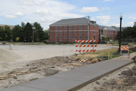 Construction continued Monday on the parking lot at the corner of Lucinda and Garden Avenue.