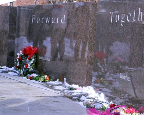 Memorial stones stand in front of Cole Hall to honor the students who were killed Feb. 14, 2008.