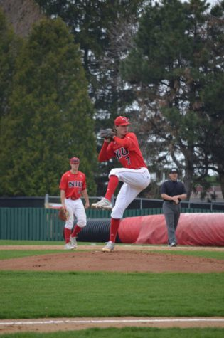 Senior pitcher Alex Klonowski pitches during a game in April, 2013 against Miami University.