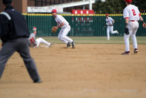 Sophomore infielder Brian Sisler fields a ground ball against Illinois State Tuesday at Ralph McKinzie Field. Sisler went 3-for-3 with two walks, one run and two RBIs.