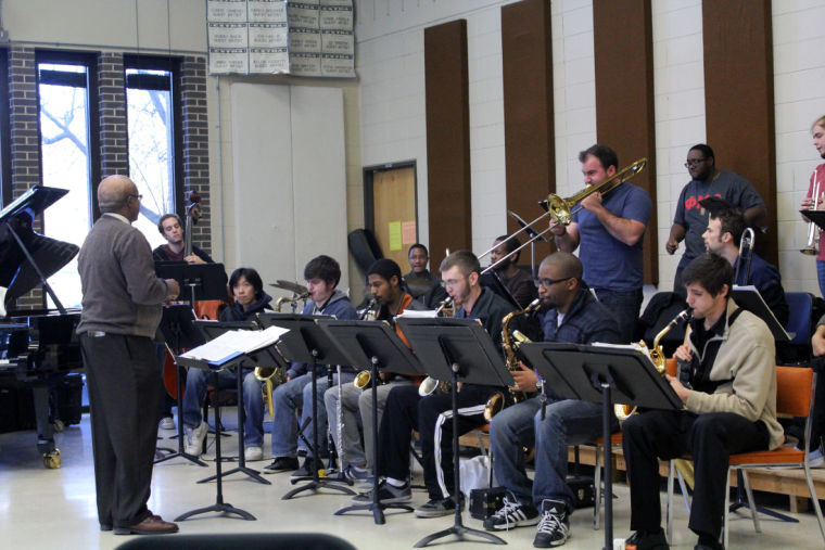 (Left) Director Ron Carter teaches the Jazz Ensemble in November 2013 in the Music Building. The band rehearsed for its show, which is at 8 p.m. Thursday at the Holmes Student Center's Duke Ellington Ballroom.