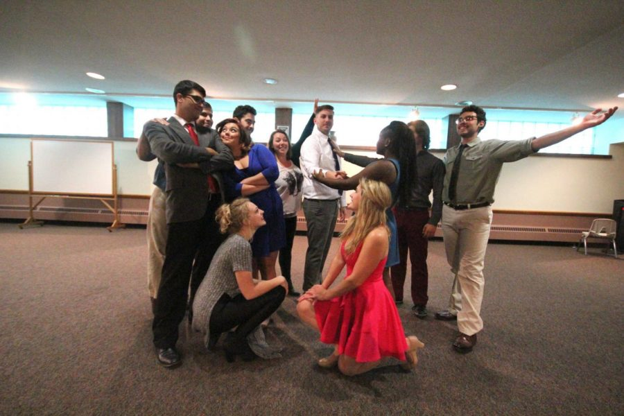 Junior acting majors do a warm-up exercise before their auditions for productions in the spring semester. The class must audition in advance as they leave for their three-month study abroad trip to Moscow Sept. 15.