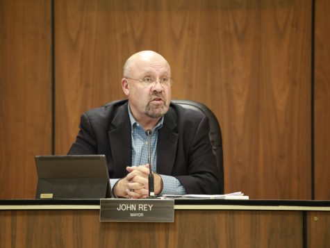 Mayor John Rey speaks Monday about the job opening for the position of city clerk at the City Council Meeting in the DeKalb Municipal Building. The seat has been vacant since the resignation of Liz Peerbook in late September.