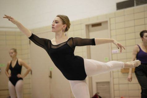 """Zoe Hamilton, senior dance performance major, practices ballet Oct. 20 in Gabel Hall. Hamilton manages social media for the dance company Danszloop Chicago. The company's production, """"An Evening of Naughty Thoughts,"""" closes Oct. 26"""