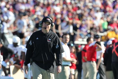 Coach Rod Carey at the Sept. 6 game against Northwestern University.