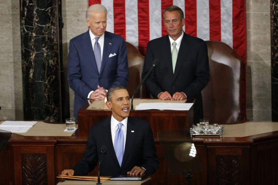 President Barack Obama takes the podium to give his State of the Union address Jan. 28, 2014, on Capitol Hill in Washington. This year, Obama will discuss higher education tax reform, including a permanent American Opportunity Tax Credit and a tax exemption for Pay-As-You-Earn participants.