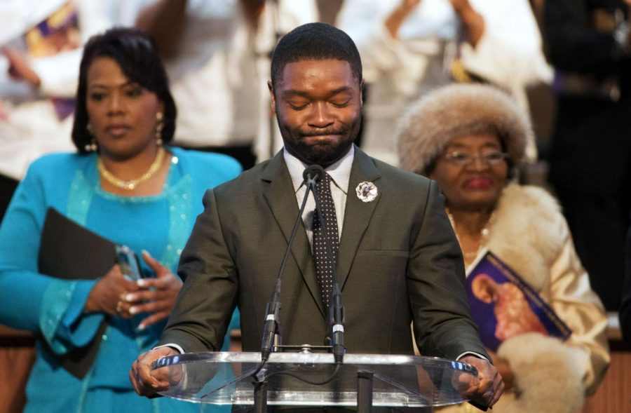 Actor David Oyelowo, who portrays Marin Luther King Jr. in the movie Selma, speaks at a service in honor of King Monday in Atlanta. The film, which focuses on King's march for equal voting rights, is still in theatres.