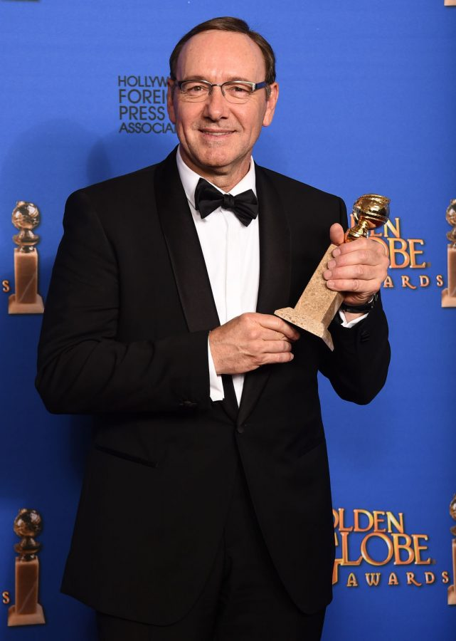 """Kevin Spacey poses with the award for best actor in a television series - drama for """"House of Cards"""" at the 72nd annual Golden Globe Awards Sunday. The series returns to Netflix for its third season Feb. 27."""
