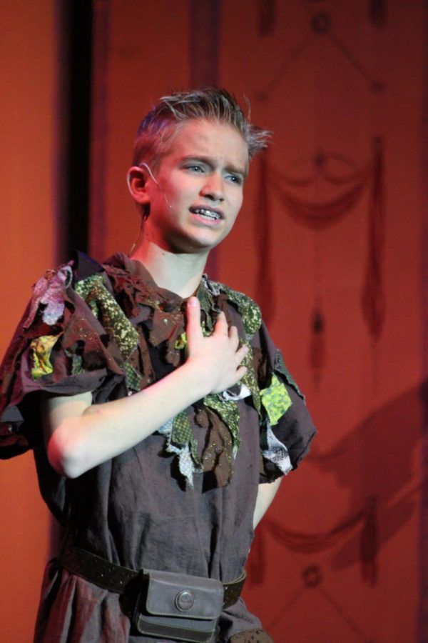 """Isiah Panke, who played Peter in the Children's Community Theatre's production of """"Peter Pan,"""" performed notable solos Saturday."""