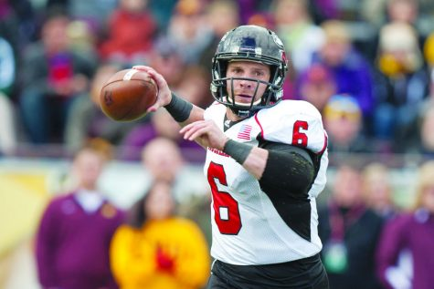 Former redshirt quarterback Jordan Lynch prepares for a throw during an Oct. 19 game against the Central Michigan Chippewas. The Huskies would go on to win by a margin of 21 points.
