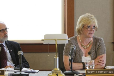 Interim CFO Nancy Suttenfield speaks about NIU's budget proposal during a Board of Trustees Finance, Facilities and Operations Committee meeting on Sept. 1, 2014, in Altgeld Hall.
