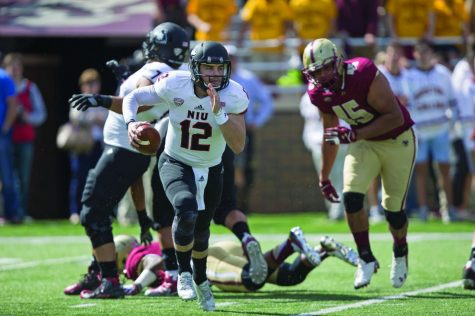 Junior quarterback Drew Hare takes off for a run in a Sept. 26 game against Boston College. Hare went 11-25 in the game, throwing for 81 yards and an interception.