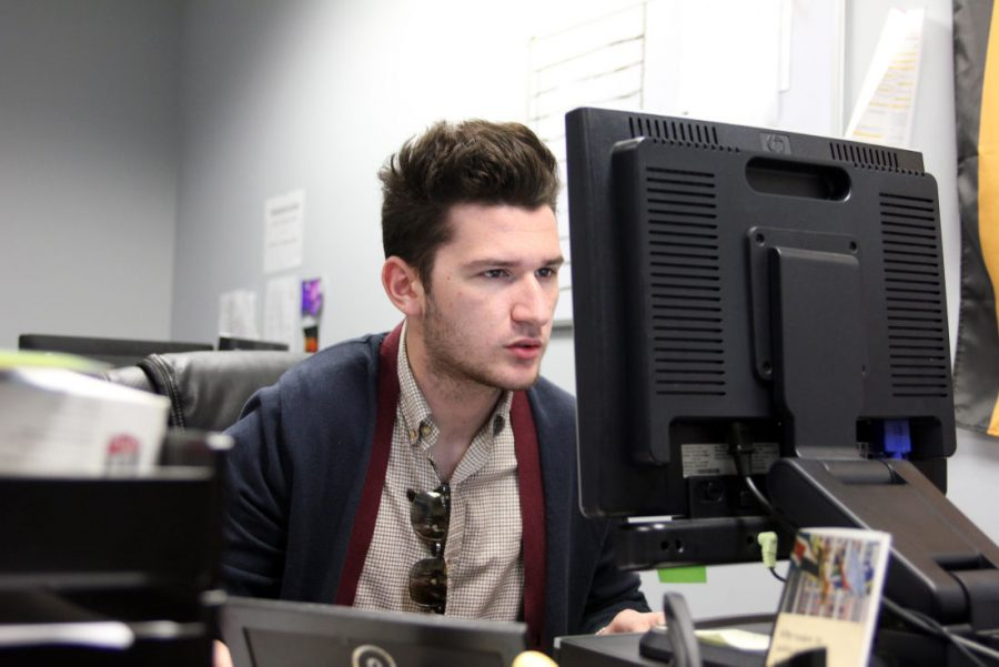 Student Association President Nathan Lupstein works at his desktop on May 4 in the Campus Activities Board office. Lupstein wants to incorporate sexual assault awareness into UNIV 101/202.
