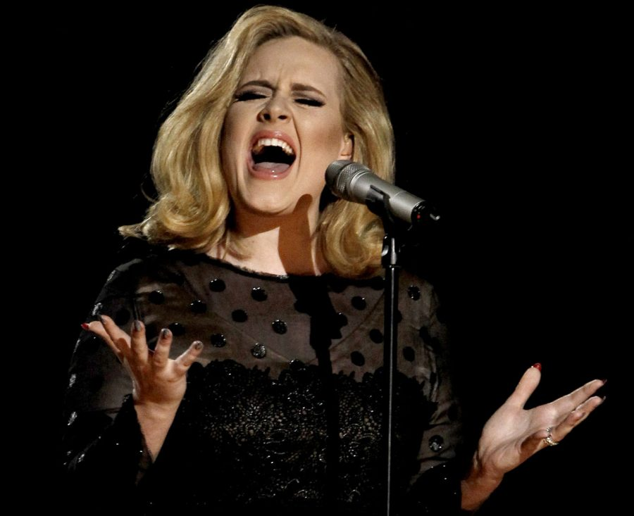 "Adele performs during the 54th annual Grammy Awards in Los Angeles before the release of ""25"" on Friday."