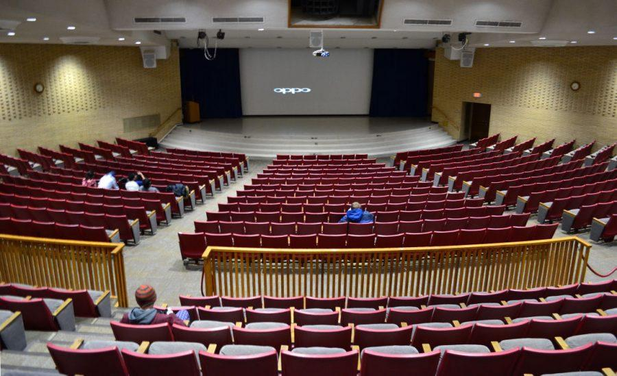 "A handful of people attend the ""Goosebumps"" movie showing as part of the ""Cinemas in Sandburg"" movie series Jan. 26 in the Holmes Student Center, Carl Sandburg Auditorium."