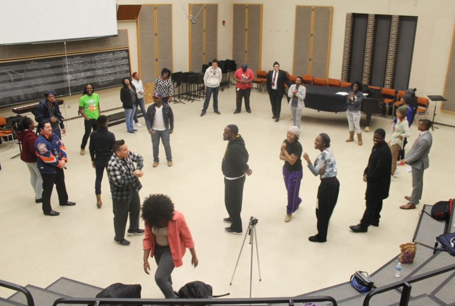 Black Lives Matter tribute concert participants rehearse for the show Wednesday in the Music Building. The show will include music and poetry performances.