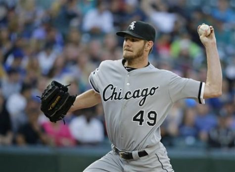 Chicago White Sox starting pitcher Chris Salethrows against the Seattle Mariners in the second inning of a baseball game, Monday, July 18, 2016, in Seattle.