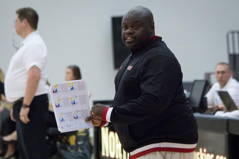 Head Volleyball Coach Ray Gooden during a game in 2016.