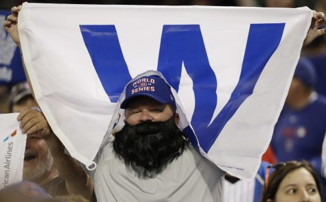 A Chicago Cubs fan cheers at Progressive Field after game six of the World Series against the Cleveland Indians Tuesday in Cleveland. The Cubs won 9-3 to tie the series 3-3.