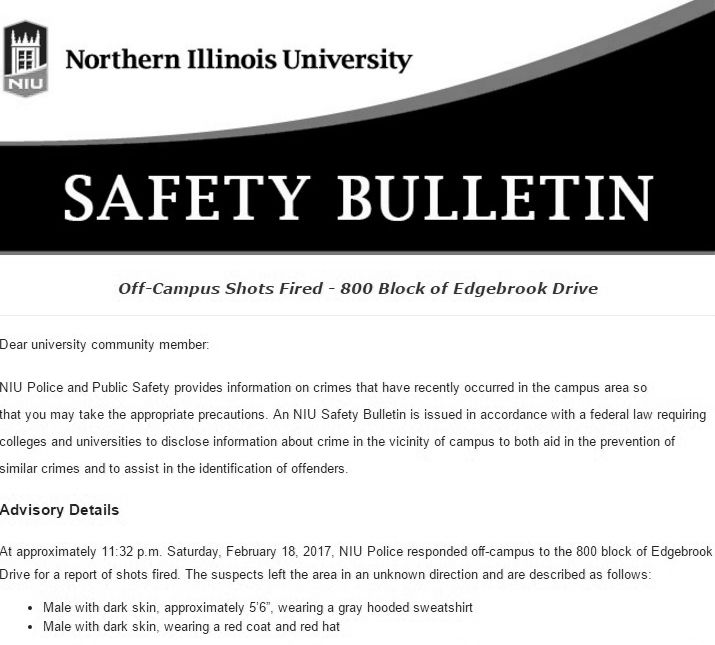 NIU must re-evaluate safety bulletin system