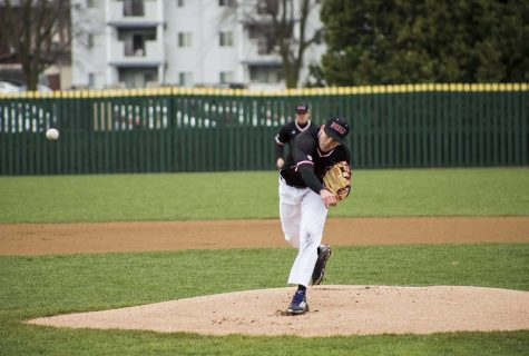 Senior pitcher Joe Hawkins pitches during Friday's home game against Bowling Green. The Huskies lost game one 7-4 and lost game two by 9-1.