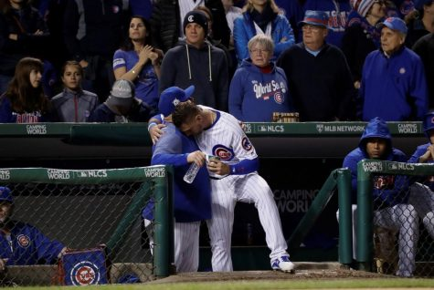 Cubs outfielder Albert Almora reacts during the ninth inning of game five of the NLDS against the Los Angeles Dodgers Oct. 19. The Dodgers won game five 11-1 to defeat the Cubs 4-1 in the series.