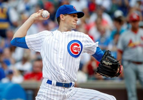 Cubs pitcher Kyle Hendricks throws a pitch in their Sept. 16 home game against the St. Louis Cardinals. Hendricks will be starting in game one of the NLDS.
