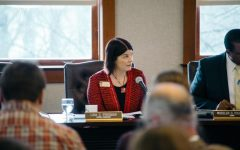 NIU President Lisa Freeman speaks during a Board of Trustee meeting Thursday. The Finance, Facilities and Operations Committee voted to freeze student tuition.